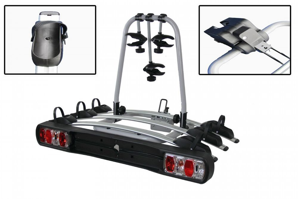 Tow Bar Mounted 3 Bike Cycle Carrier - Bicycle Rack Carry Lights Cycling Secure Transport